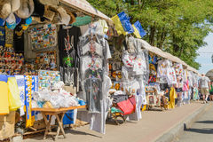 Souvenir shops in Andriyivskyy Descent Stock Images