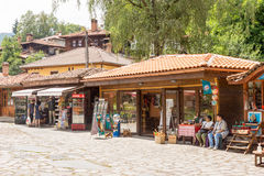 Souvenir shops in the central area of Koprivshtitsa in Bulgaria Royalty Free Stock Images