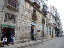 SOUVENIR SHOPS IN A STREET IN HAVANA, CUBA Stock Photography