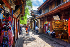 Souvenir shops on street of the Old Town of Lijiang, China Royalty Free Stock Image