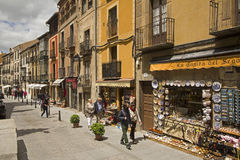 Souvenir shops and tourists in Segovia, Spain Royalty Free Stock Photos