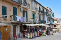 Souvenir shops for tourists in Tropea royalty free stock photo