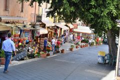 Souvenir shops for tourists in Tropea royalty free stock photography
