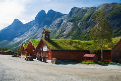 Souvenir shops in the traditional Norwegian style. TROLLVEGGEN, NORWAY - AUGUST 12, 2011 - In a picturesque place on the lookout located souvenir shops in the Royalty Free Stock Image
