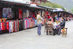 Colorful souvenir shops in West Street in Yangshuo,China Royalty Free Stock Images