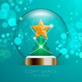 Souvenir Snowball Glass glitter inside have Golden Star with pattern and Christmas tree with bokeh light set illustration. Isolated on green gradient background Royalty Free Stock Photos