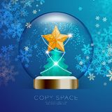 Souvenir Snowball Glass glitter inside have Golden Star with pattern and Christmas tree with snowflake bokeh light set illustratio. N isolated on blue gradient Stock Photos