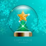 Souvenir Snowball Glass glitter inside have Golden Star with pattern and Christmas tree with snowflake bokeh light set illustratio. N isolated on green gradient Royalty Free Stock Photo