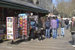 Souvenir stall on La Rambla. Barcelona. Spain Stock Photos