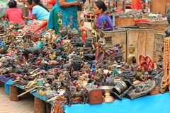 Souvenir stalls in the Durbar Square, Nepal Stock Photography
