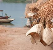Souvenir stalls by the Mekong Royalty Free Stock Image