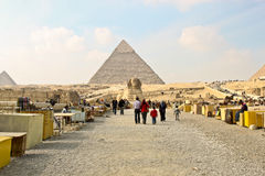 Souvenir stalls near Sphinx and pyramids in Giza. Royalty Free Stock Images