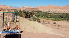 Souvenir Stand at Ait Ben-Haddou in the foothills of the Atlas Mountains in Morocco royalty free stock image