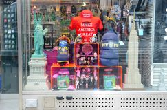 Souvenir store in Times Square selling New York and USA souvenirs including Make America Great hats and shirts royalty free stock photo
