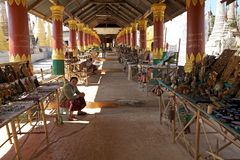 Souvenir street shop in Myanmar Royalty Free Stock Photos