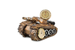 Souvenir tank with clock and thermometer Stock Images