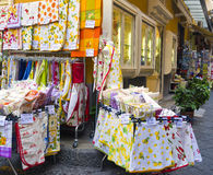 Souvenir Textiles, Sorrento Italy. A typical souvenir shop in Sorrento, southern Italy, a major tourist destination, selling colorful textile products such as stock photos