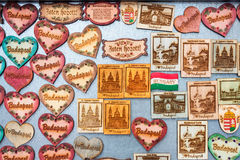 Souvenir touristic magnets for sale in Budapest, Hungary Stock Photos