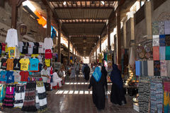 Souvenir trade row with goods in Dubai royalty free stock images