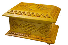 Souvenir from a tree. Carved wooden casket. Isolation. Retro Royalty Free Stock Images
