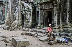 Souvenir trinket stall vendor in angkor wat famous temple cambod Stock Photo