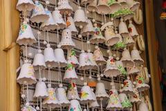 Souvenir ukrainian bells on the shop window. Lviv, Ukraine Royalty Free Stock Photos