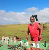 Souvenir Vendor in Easter Island. Rapa Nui man selling souvenirs and art crafts Stock Photos
