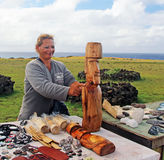 Souvenir Vendor in Easter Island. Rapa Nui woman selling souvenirs and art crafts in Easter Island Royalty Free Stock Images