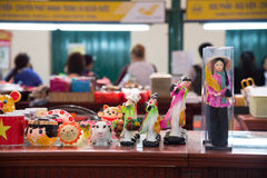 Souvenir wood dolls. Sold in central post office shop, Ho Chi Minh city, Vietnam Stock Images