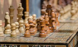 Souvenir wooden chess for sale at old market. Jerusalem. Israel royalty free stock images