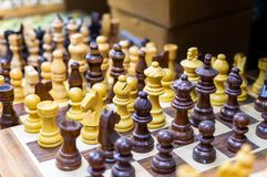 Souvenir wooden chess for sale at old market. Jerusalem. Israel royalty free stock photos
