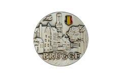 Souvenirmagneten - Brugge i Belgien Fotografering för Bildbyråer