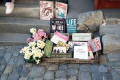 Souvenirs from Český Krumlov city. Souvenirs on the street in Český Krumlov city royalty free stock photos