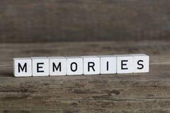 Souvenirs, écrits en cubes images libres de droits