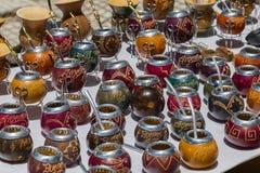Souvenirs argentins - courges et bombillas Photo stock