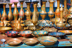 Souvenirs Armenian dishes made of metal, copper, chasing, pitchers, decanters, glasses, plates, dishes, bowls Stock Photo