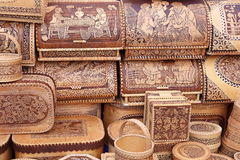 Souvenirs from birch bark Stock Photos