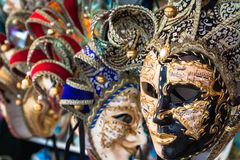 Souvenirs and carnival masks on street trading in Venice, Italy Royalty Free Stock Photography