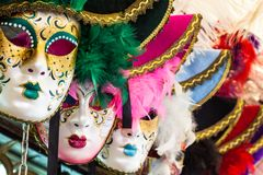 Souvenirs and carnival masks on street trading in Venice, Italy Stock Images