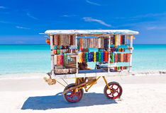 Souvenirs cart at Varadero beach in Cuba royalty free stock photography