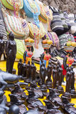 Souvenirs of Cartagena - Colombia. Street market - Souvenirs of Cartagena, Colombia - Statues and handbags Stock Photos