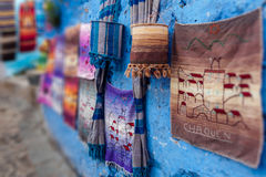Souvenirs of Chaouen. Souvenirs in a souk of Chefchaouen, North of Morocco royalty free stock images