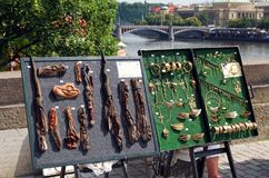 Souvenirs on Charles Bridge, Prague. Royalty Free Stock Photos