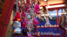 Souvenirs at  Christmas Fair stock video footage