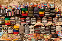 Souvenirs from Colombia. Street stall with hand-made souvenirs from Cartageny, Colombia Stock Photo