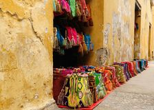 Souvenirs from Colombia. Street stall with hand-made souvenirs from Cartageny, Colombia stock photography