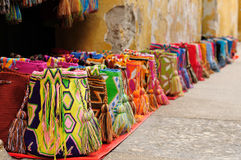 Souvenirs from Colombia. Street stall with hand-made souvenirs from Cartageny, Colombia Royalty Free Stock Photography