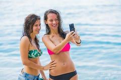 Souvenirs congelés avec le smartphone Photo libre de droits