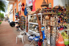 Souvenirs on Cozumel. COZUMEL, MEXICO - OCT, 22, 2016: There are many souvenirs and shopping options for the tourists on the Cozumel Island royalty free stock photography