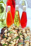 Souvenirs in Croatia. Souvenirs from Croatia - dried figs and fig liqueur with herbs stock photography